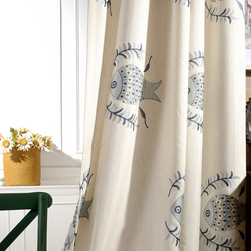 Minimalist Outdoor Contemporary Curtains The New Cotton Embroidered Fabric Modern Minimalist Living Room Balcony Bedro