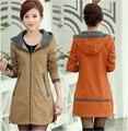 2015 New Women Autumn Coat hoodies plus size long female Casual trench coat Overcoat manteau femme 4XL