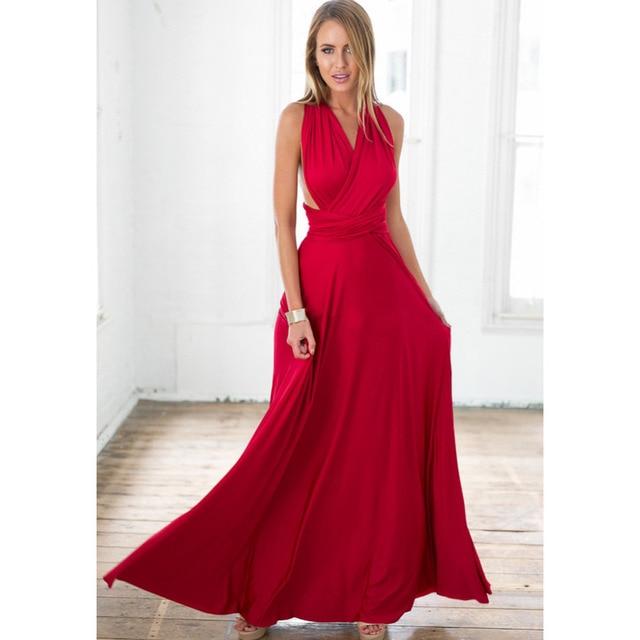0c5b729fde52 New Summer Sexy Women Maxi Dress Red Beach Long Dress Multiway Bridesmaids  Convertible Wrap Party Dresses Robe Longue Femme 2018