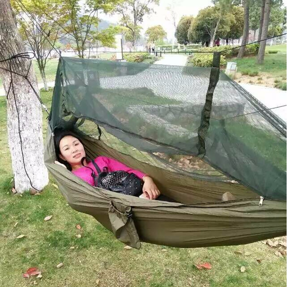 Portable Parachute Fabric Hammock Hanging Bed With Mosquio Net  Sleeping Outdoor Camping Beds furniture size hanging sleeping bed parachute nylon fabric outdoor camping hammocks double person portable hammock swing bed