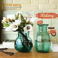 2018 NEW Mediterranean minimalist style transparent glass blue vase,fresh plant hydroponic vase,Curved design table decoration