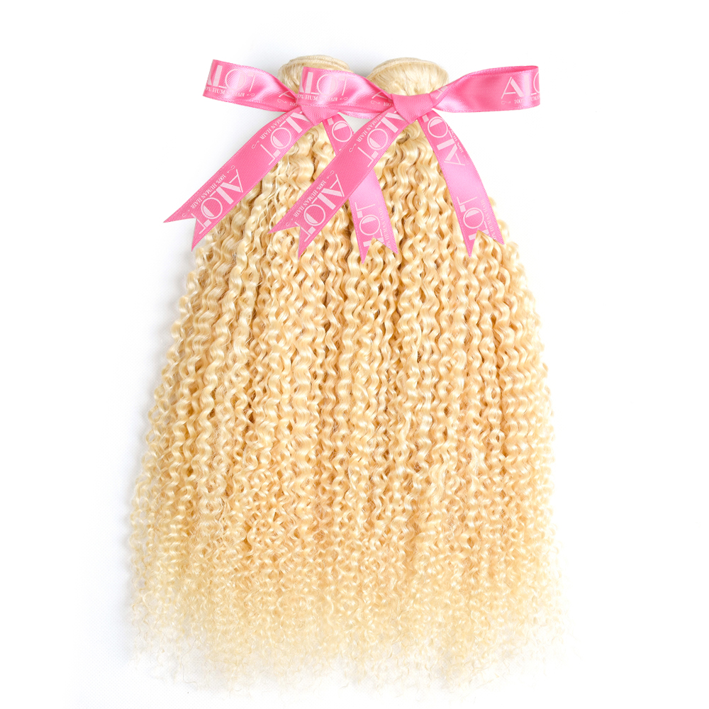 Alot  613 Kinky Curly  3/4 Bundles Blonde Hair  12 To 24 Inch Double Weft Non  Hair s 2