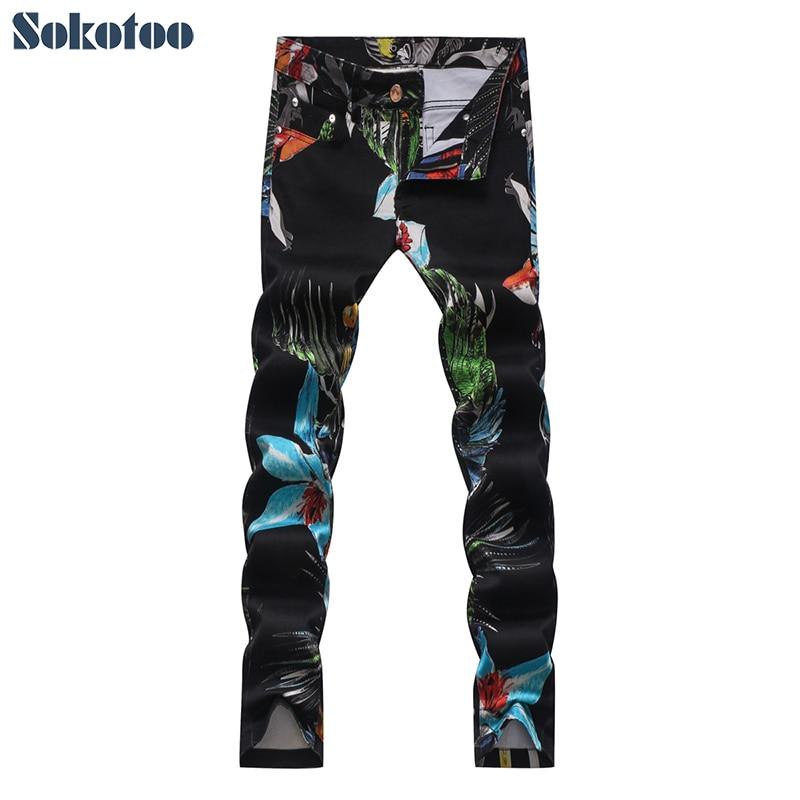 Sokotoo Men's fashion black stretch denim print   jeans   Casual flower birds pattern pants Long trouers
