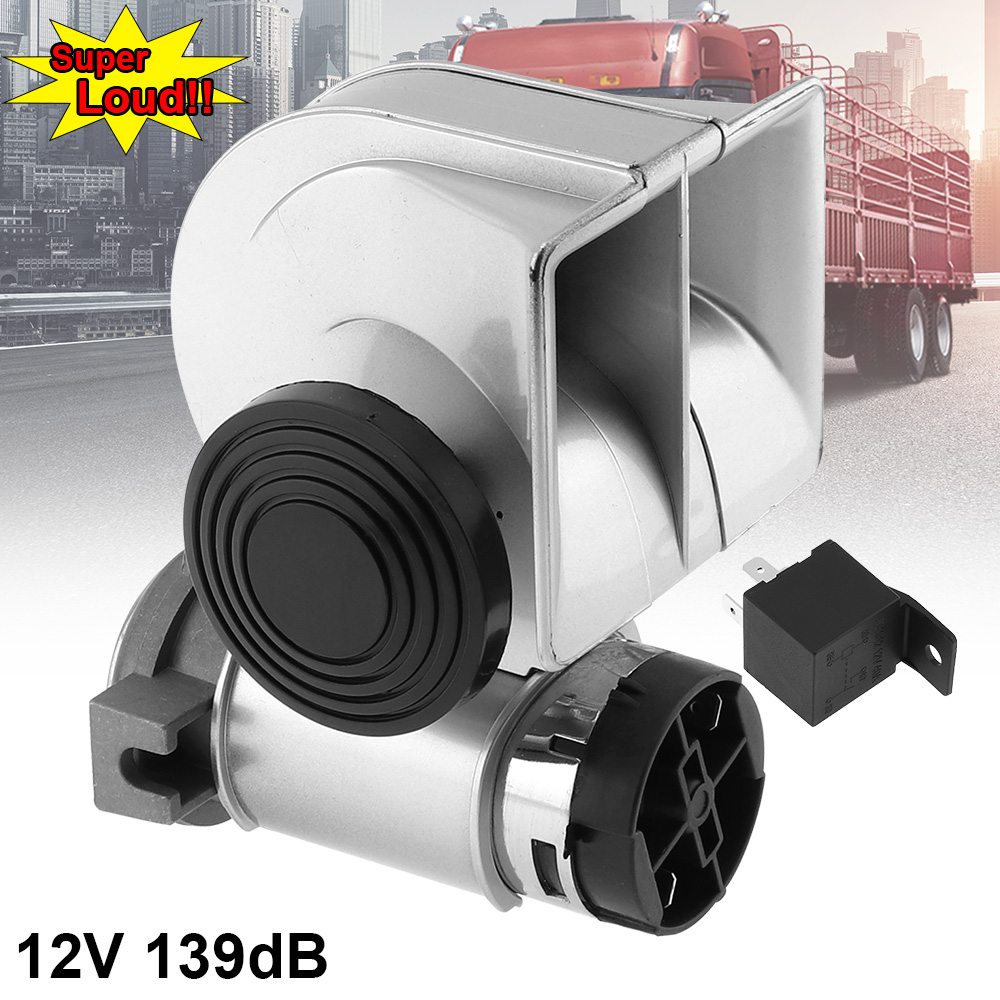 12V 139dB Car Air Horns Snail Compact Dual Horn Multi-tone and Claxon for Vehicle Motorcycle Yacht Boat SUV