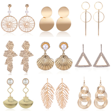 HOCOLE Fashion Gold Metal Earrings For Women Vintage Pearl Crystal Geometric Drop Dangle Earring Female Jewelry Wedding Party