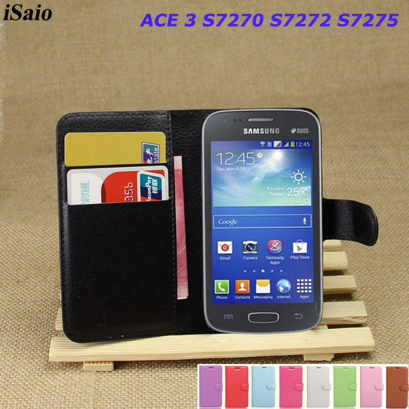 Leather Wallet Case <font><b>For</b></font> <font><b>Samsung</b></font> <font><b>Galaxy</b></font> <font><b>ACE</b></font> <font><b>3</b></font> III S7270 <font><b>S7272</b></font> S7275 GT-<font><b>S7272</b></font> GT-S7270 <font><b>Flip</b></font> <font><b>Cover</b></font> Phone Bag TPU with Card Slots image