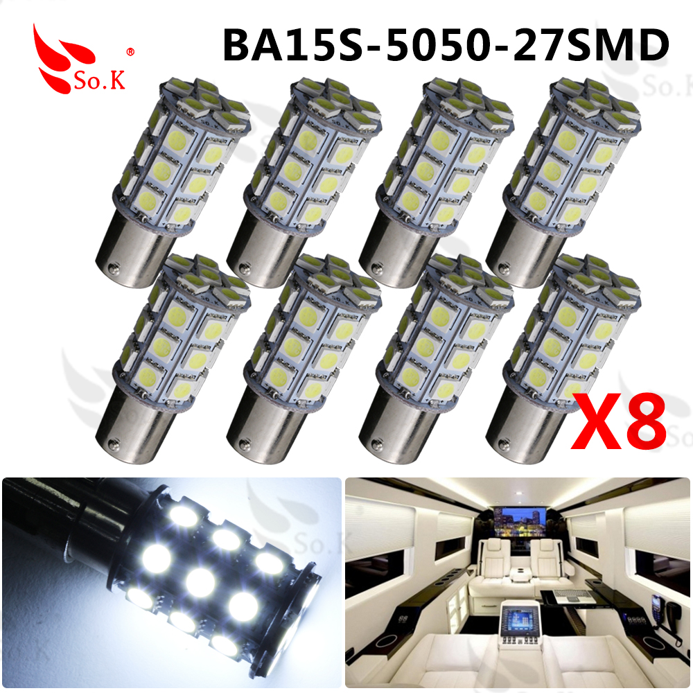 100 X 1156 P21W Ba15s 27 5050 SMD LED Brake Tail Turn Signal Rear Light Bulb 10x 20x 50x hngchoige 1156 ba15s p21w 13 led 5050 smd car tail brake signal light lamp bulb white