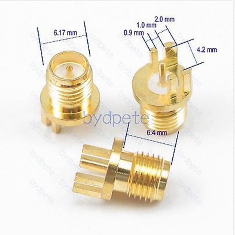 1pce Connector SMA female jack solder PCB clip edge mount Straight