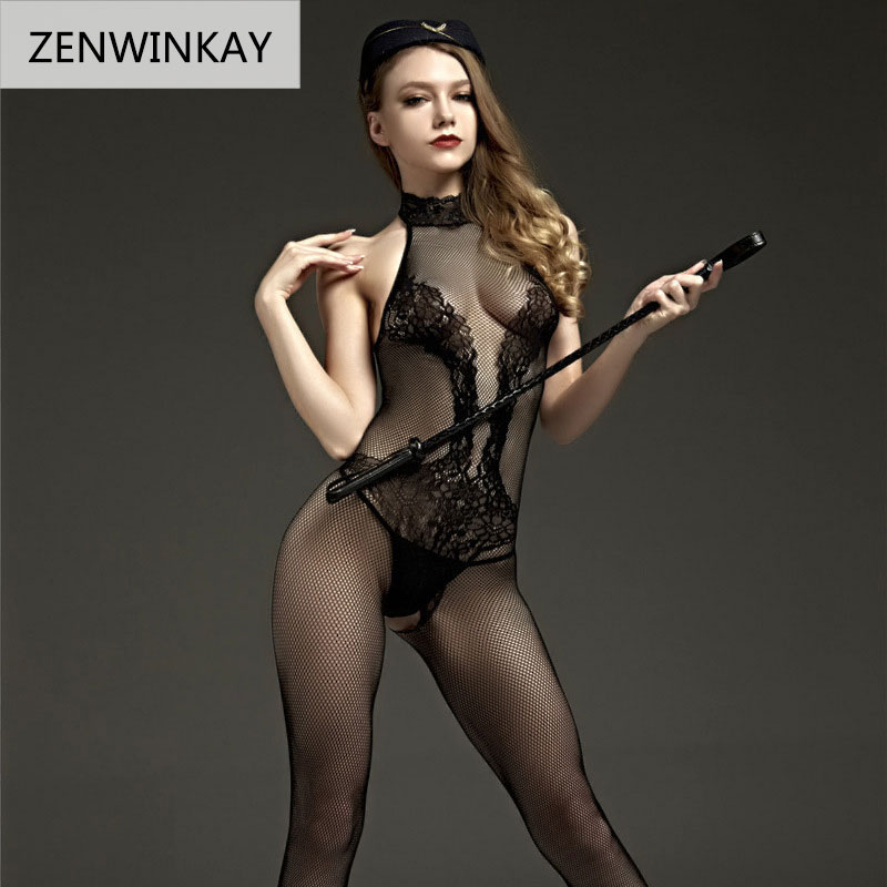 2018 Erotic Lingerie for Women Sex Underwear Porn Babydoll Dress Hot Lace Mesh Open Crotch Costume Nuisette Sexy Teddy Lingerie 2