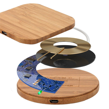Slim Wood Portable Qi Wireless Charger for iPhone X/XS Max XR 7 8 Plus Wireless Charging Pad for Xiaomi Samsung S8 S9 S7 Note 9