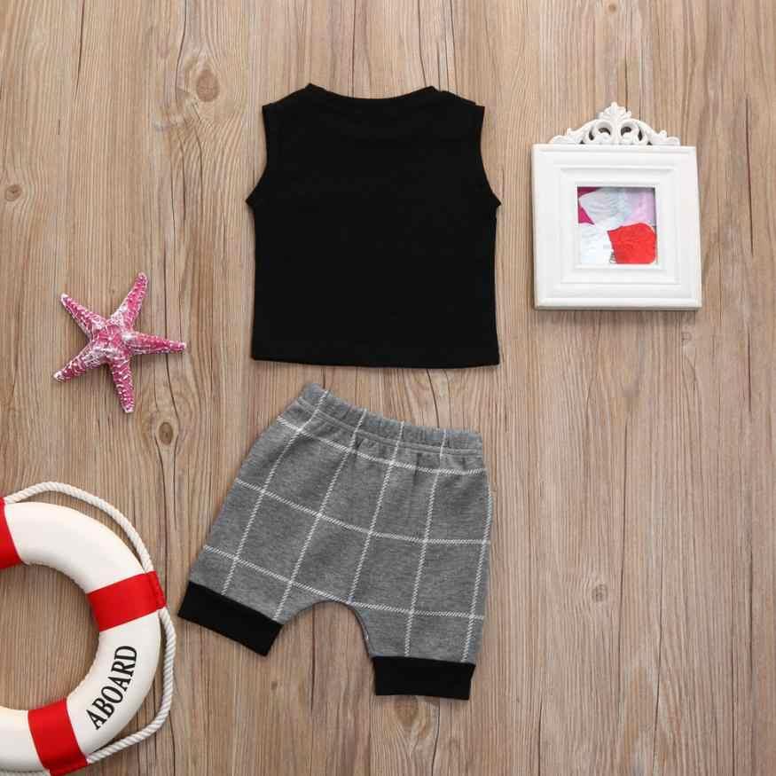 赤ちゃんの夏の服 0-24 ヶ月ファッション幼児ベビー少年少女チェック柄トップス Tシャツベストショーツアウトフィット服セット m20