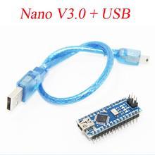1PCS Nano 3.0 Controller Compatible for Arduino Nano CH340 USB Driver with Cable NANO V3.0 Free Shipping
