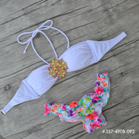 Custom Made Designs Secret Crystal Diamond Bikini Set White TOP Swimwear Women Swimsuit 2016 Biquini Print