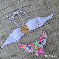 Custom Made Designs Secret Crystal Diamond Bikini Set White TOP Swimwear Women Swimsuit 2016 Biquini Print