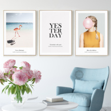 Flamingo Girl Beach Seascape Wall Art Canvas Painting Nordic Modern Posters And Prints Pictures For Living Room Decor