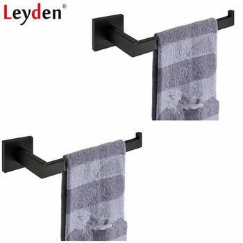 Leyden Black 304 Stainless Steel Wall Mounted 2pcs Towel Ring Sets Durable Towel Holders 2pcs Bathroom Accessories Set