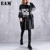 [EAM] 2018 New Autumn Winter Round Neck Long Sleeve Black Pu Leather Tassels Striped Large Size Sweatshirt Women Fashion JI632