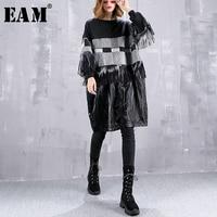 [EAM] 2019 New Spring Round Neck Long Sleeve Black Pu Leather Tassels Striped Large Size Sweatshirt Women Fashion JI632
