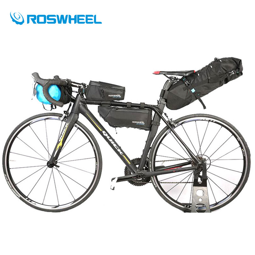 Roswheel A Set of Bike Bag 4Pcs 100% Waterproof Bicycle Bag Front Frame Panniers Cycling Saddle Tube Top Bag Bike Accessories roswheel mtb bike bag 10l full waterproof bicycle saddle bag mountain bike rear seat bag cycling tail bag bicycle accessories