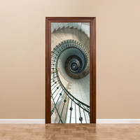 funlife Spiral Staircase Wall Poster Imitation 3D Door Sticker Waterproof Poster Living Room Bathroom Wall Sticker Home Decor