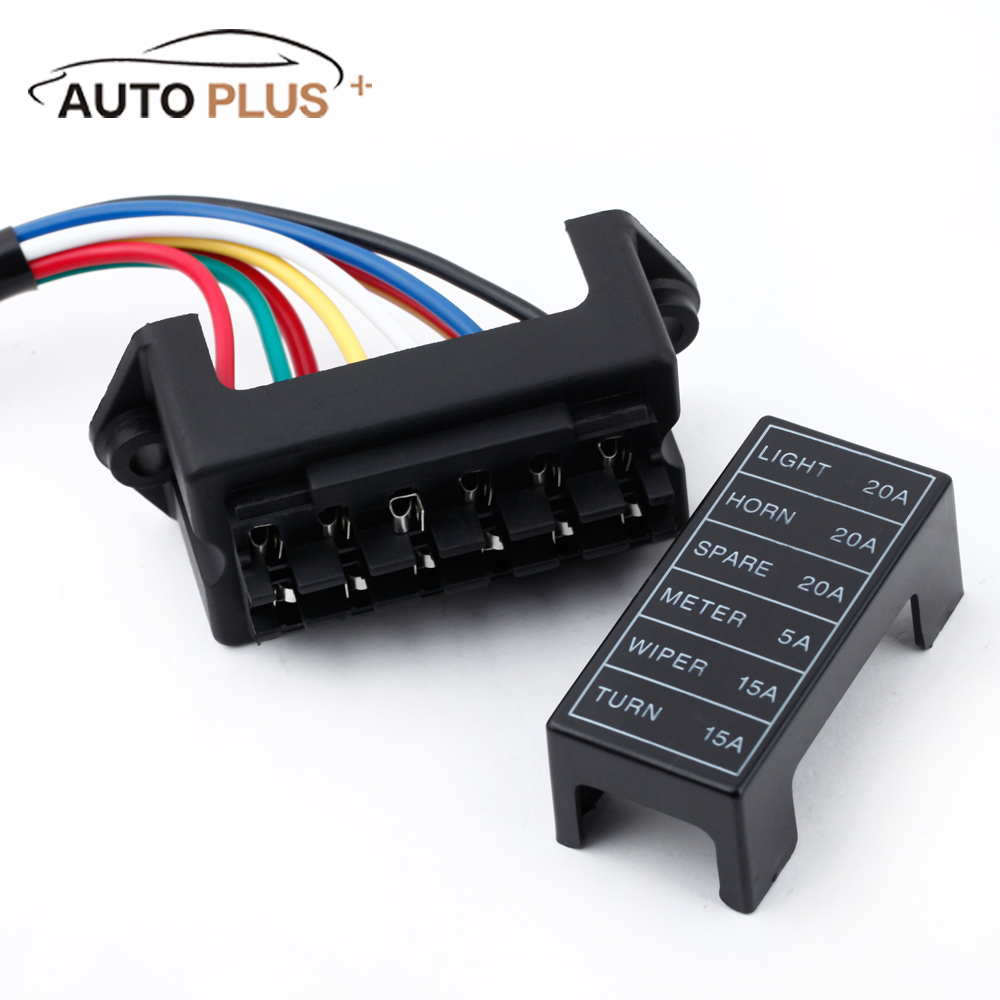 us $7 16 30% off 6 way car fuse box circuit car trailer auto blade fuse box block holder dc 12v 24v 32v atc ato 2 input 6 ouput wire in fuses from Fuse Box Audi