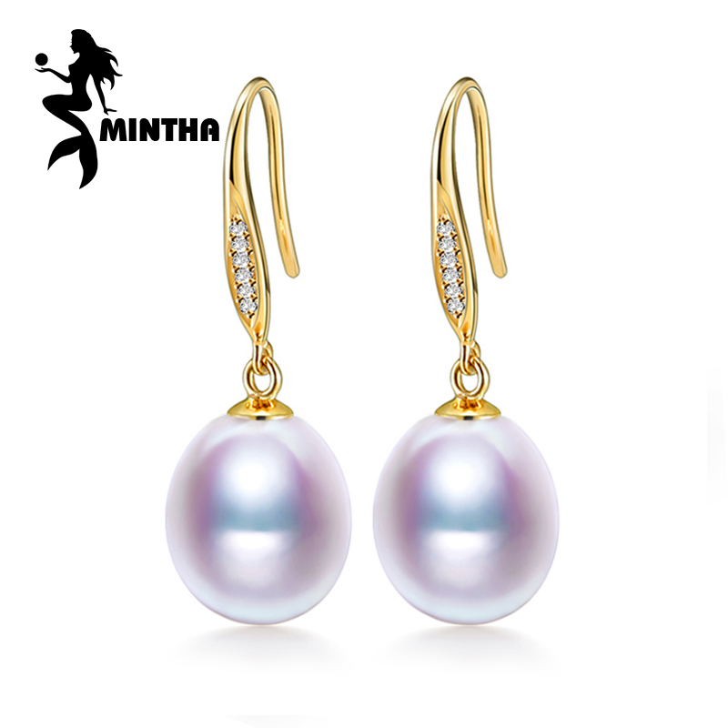 MINTHA 18k gold earrings pearl jewelry, Antiallergic 18K yellow Gold drop earrings For Women 2017 New Fashion long earrings ювелирный набор fashion no 1 18k