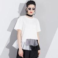 Ruffles T Shirt Female 2018 Summer Fashion Sweet O Neck Short Sleeve Mesh Patchwork High Waist
