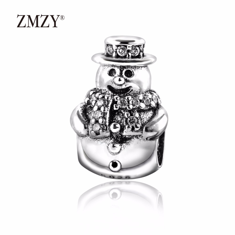 ZMZY Authentic 925 Sterling Silver Charms Snowman with Clear CZ Beads Fits Pandora Charm Bracelet DIY jewelry