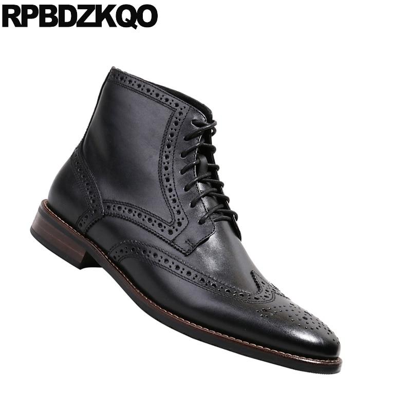Negro Diseñador Hombres Retro Punta Mocasines De Botas Cuero Completo Calidad El Oxford Encaje Top marrón Alta Tobillo Grano Zapatos B7HvcOT