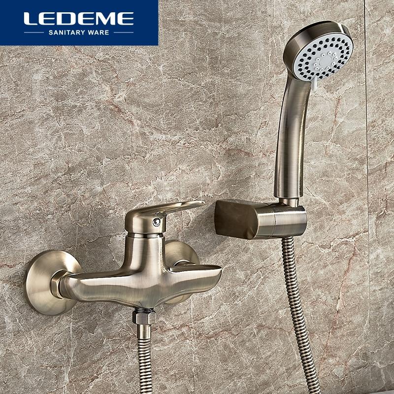 LEDEME Antique Brass Bathtub Faucets Bathroom Basin Mixer Tap Crane With Hand Shower Head Bath Shower