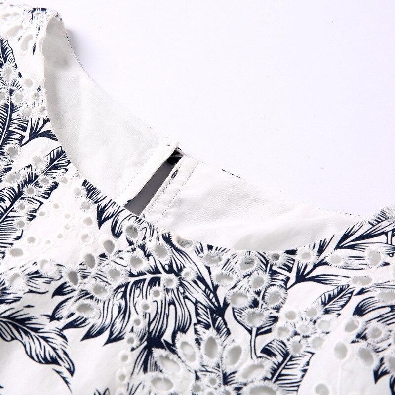 Imprimé Patchwork Retour Et D'été Rond Robes Femmes Élégant Robe Blue Poitrine Col Unique De Printemps Mode 2019 Coton gyY7Ibvf6