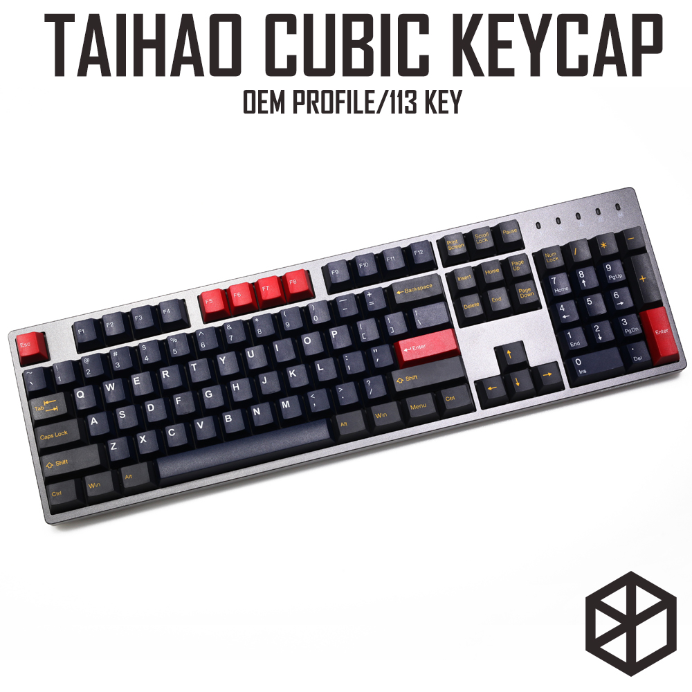 taihao cubic abs doubleshot cubic keycaps for diy gaming mechanical keyboard red blue grey with 1