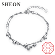 silver bracelets with 14k real gold 100% 925 authentic sterling silver fashion jewelry free shipping SHEON Authentic 100% 925 Sterling Silver Trendy Romantic Star Bracelets & Bangles Women Sterling Silver Jewelry Free Shipping