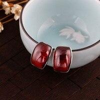 925 pure silver retro Earrings garnet, tremella nail, ladies' wind, earrings, silver jewelry wholesale.