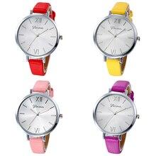 Women's Simple Faux Leather Band Roman Numeral Round Dial Quartz Wrist Watch