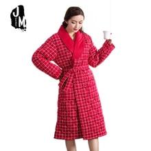 Plus Size Xxxl Warn Cotton Three Layer Thickened Bath Robes Only For Winter Nightgown Sleepwear Homewear