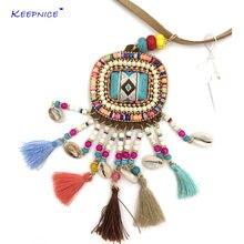 Ожерелье с кисточками длинное ожерелье из кожи в стиле бохо