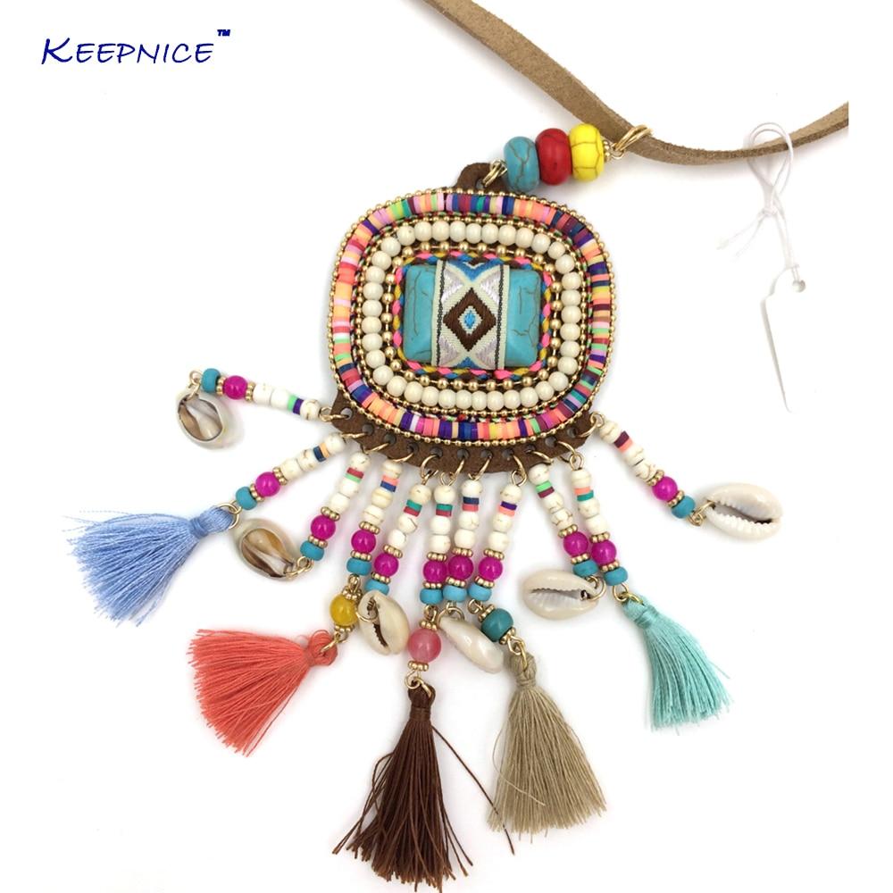 Neue Lederschnur Böhmen Halskette Schmuck Thread Quaste Sommer Boho Chic Halskette lange Fransen Anhänger Halsketten