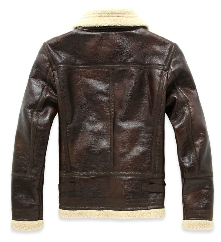 HOT free shipping Men's brand autumn winter pilot fur one piece thickening slim motorcycle PU leather clothing jacket coat/M-XXL 1