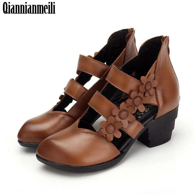 Женские босоножки на толстом каблуке этническая обувь с закрытым носом и цветами женские босоножки ручной работы из натуральной кожи уника...