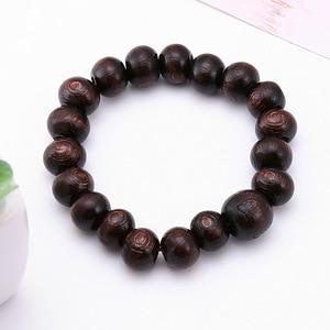 Image 2 - Minimaliste rond bois perles bouddha Bracelet marron lettre prière Braclet pour hommes Cool artisanat bijoux pulseira masculina