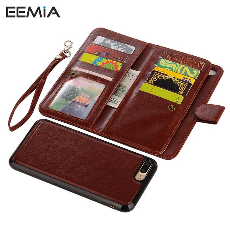 EEMIA 10 шт. телефон чехлы для iPhone 8 Plus крышка съемная ТПУ + искусственная кожа Чехол для iPhone 6 6s плюс 7 8 X (10) ремень кошелек Чехол