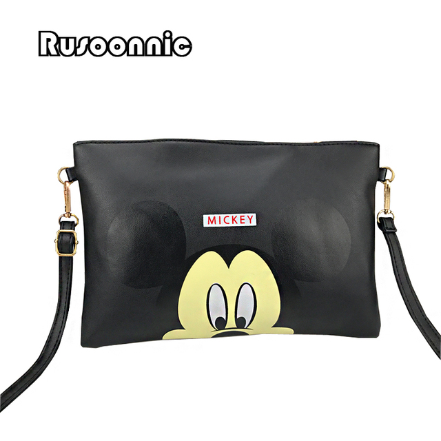 e887b6ef8 Bolsos de mensajero de moda para mujer bolso de embrague Mickey Minnie bolso  de cuero para