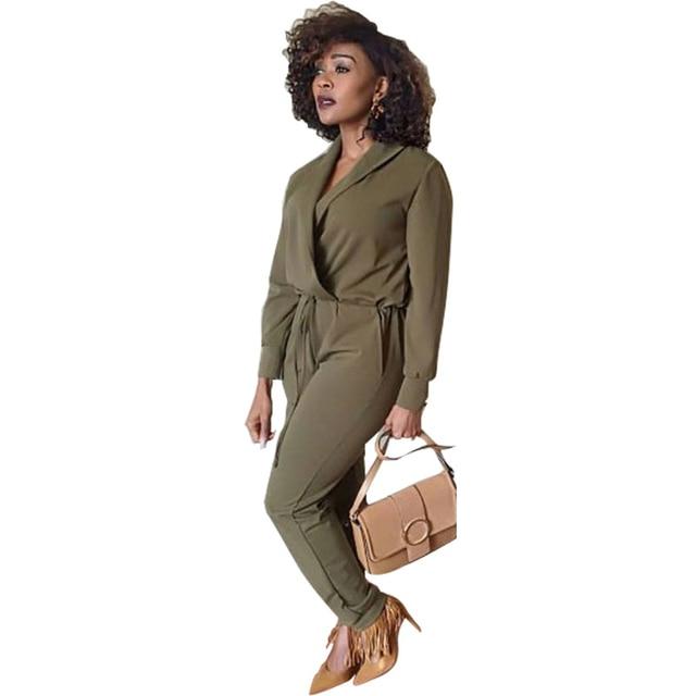 Atado de La Cintura Larga Oficina Buzos Playsuits Guardapolvos para Las Mujeres Con Cuello En V Vendaje Otoño Invierno Sexy Femme Combinaison Mono Verde