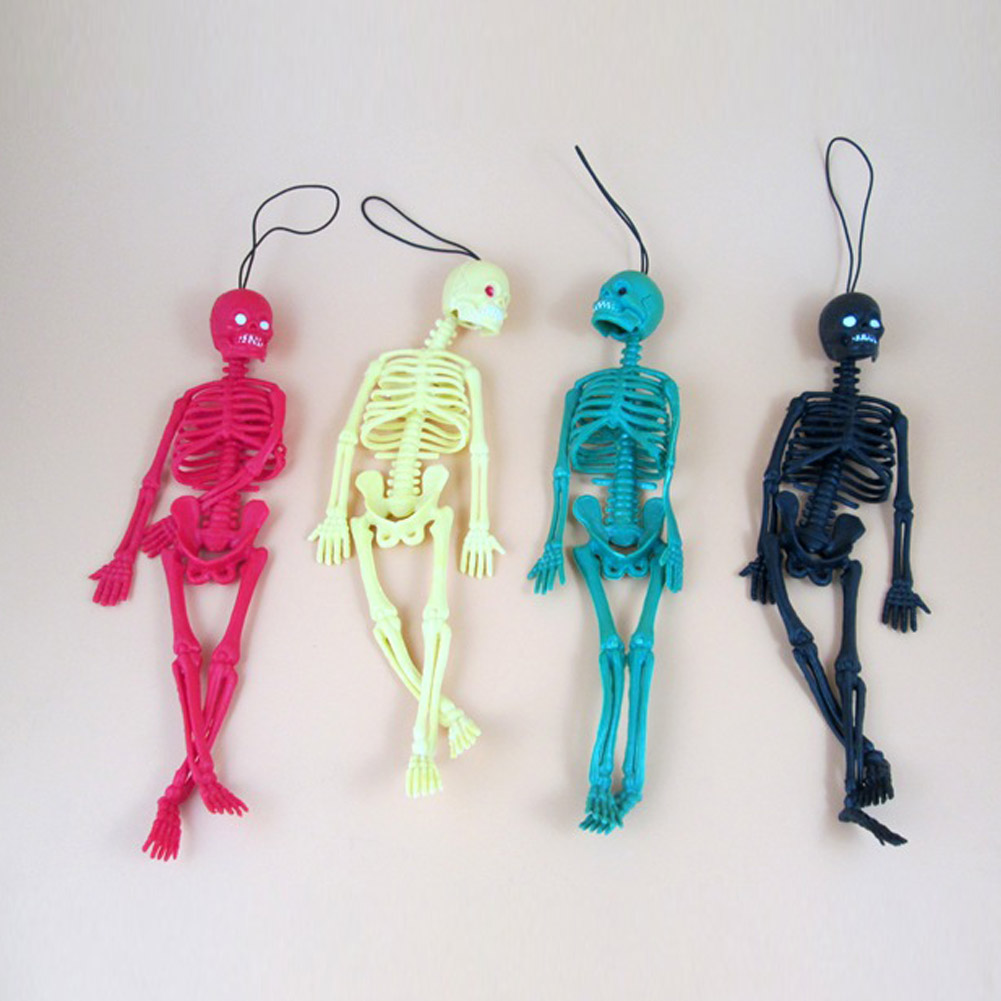 ZheFanku Funny Tricks Toy Replica Luminous Noctilucent Skull Skeleton Halloween Model Game Keychain Decor Party Property Toys