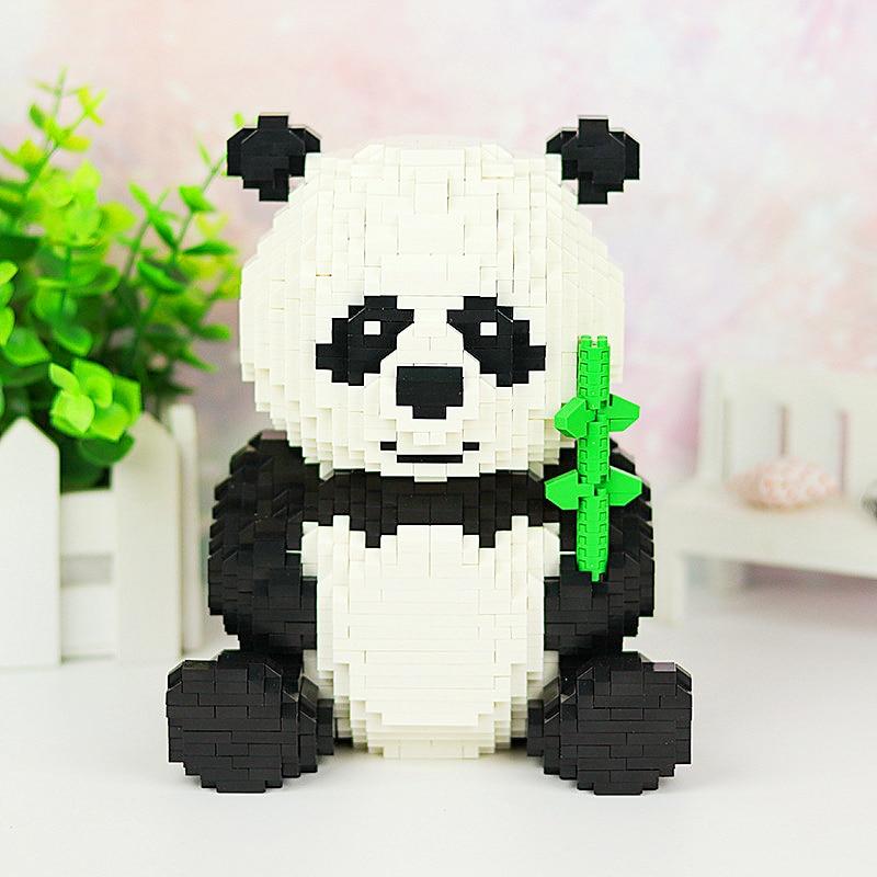 DIY Diamond Mini Building Cartoon Bear Cat Panda Animal Pet 3D Model 2444pcs Nano Blocks Bricks Assembly Toy gift in Blocks from Toys Hobbies