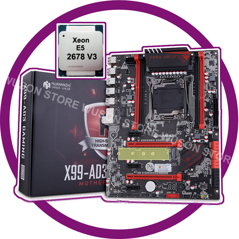 HUANANZHI <font><b>X99</b></font> LGA2011-3 discount motherboard with M.2 NVMe slot motherboard with CPU Xeon E5 2678 V3 SR20Z 12 core 24 thread image
