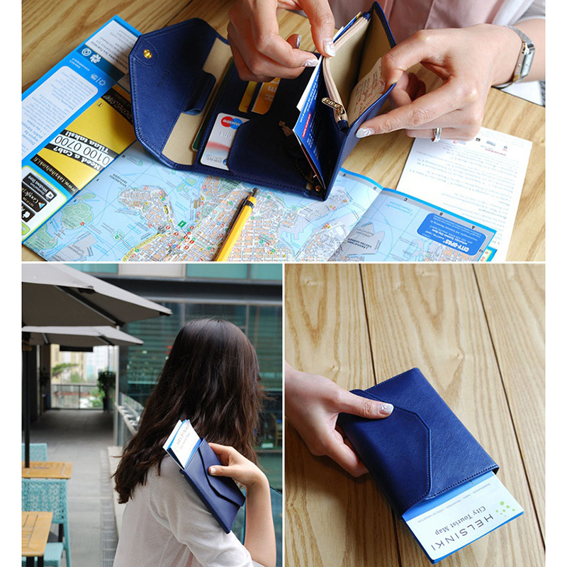 Fashion Travel Passport Cover Foldable Credit Card Holder Money Wallet ID Multifunction Documents Flight Bit License Purse Bag in Money Clips from Luggage Bags