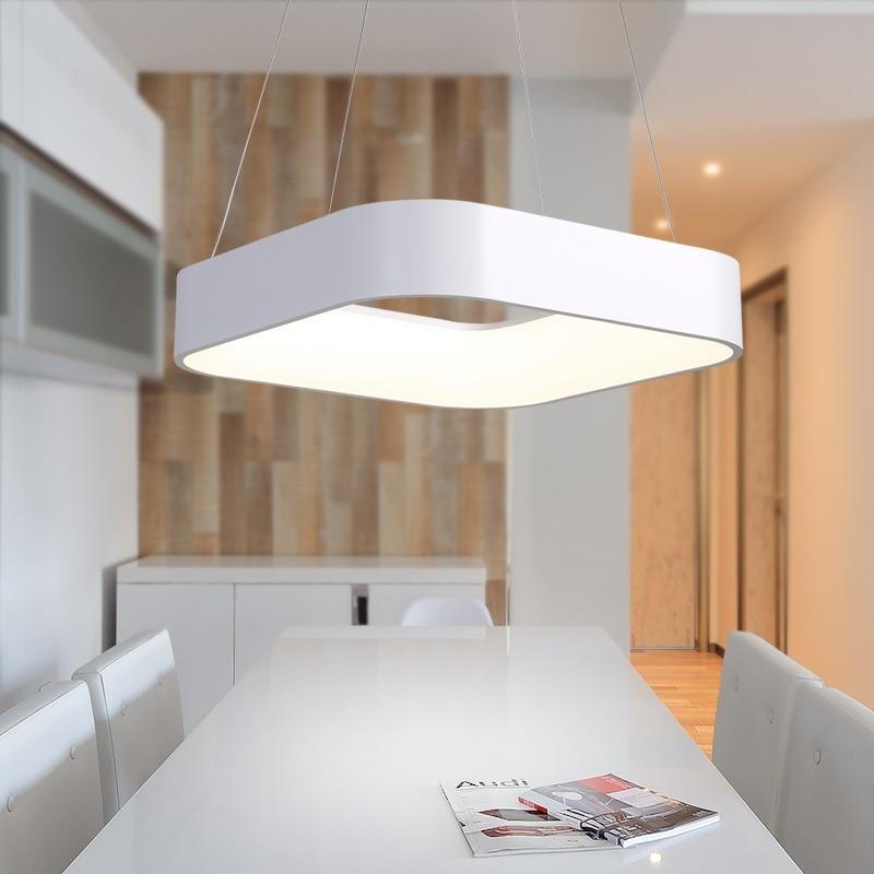 Modern Simple Square LED Pendant Light Dining Room Kitchen Island Foyer Droplight Aluminum Acrylic Home Decor