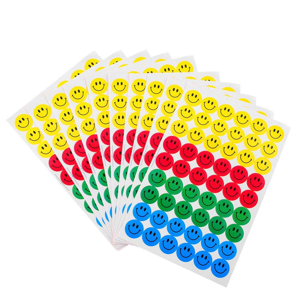 MOONBIFFY New Cute 10 sheets (540pcs) Colourful Round Smile Face Stickers Decal Kids Children Teacher Praise Merit office